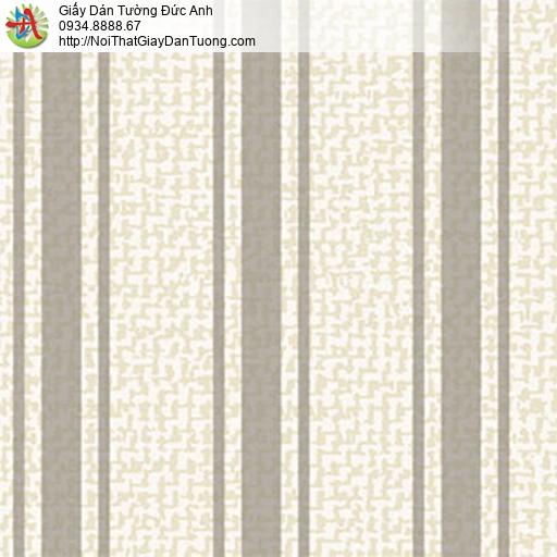 5555-3 Giấy dán tường sọc lớn màu nâu nền màu kem, thợ giấy dán tường