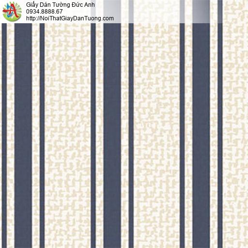 5555-4 Giấy dán tường sọc xanh than nền màu kem, giấy kẻ sọc to
