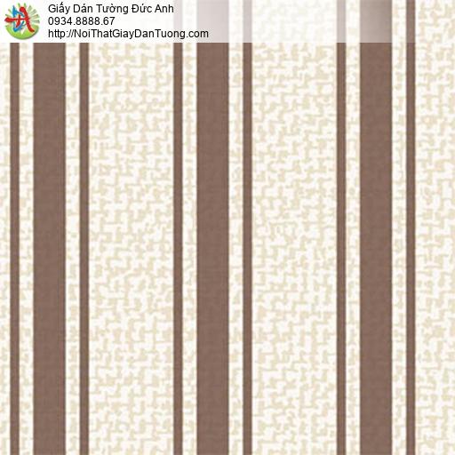 5555-5 Giấy dán tường sọc to màu nâu nền màu kem, giấy sọc mới 2020