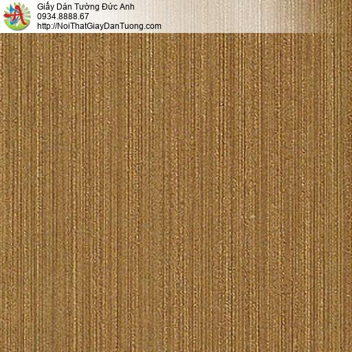 M800311 Giấy dán tường màu vàng đồng, giấy dạng gân kẻ sọc nhỏ vàng
