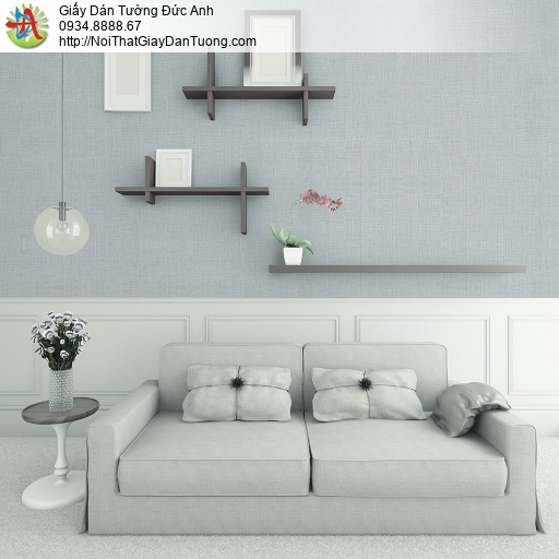 3808-2 Giấy dán tường kiểu gân màu xám xanh, giấy gân màu xanh xám