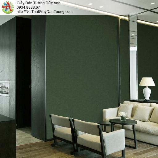 3809-5 Giấy dán tường màu xanh ngọc, giấy gân trơn đơn giản màu xanh