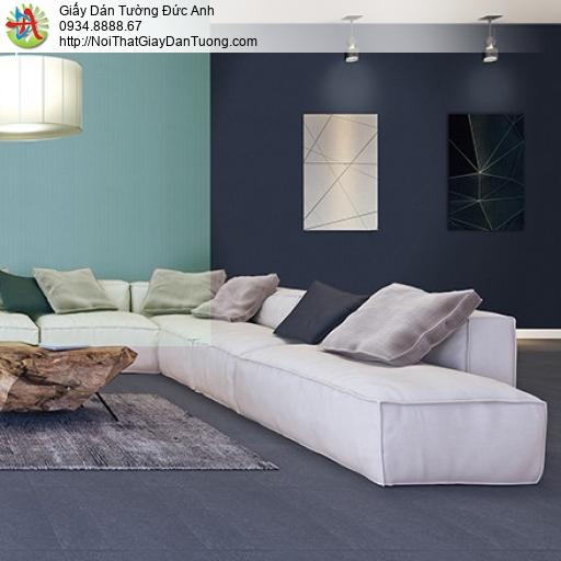3813-6 Giấy dán tường gân ca rô màu xanh than, màu xanh đậm hiện đại