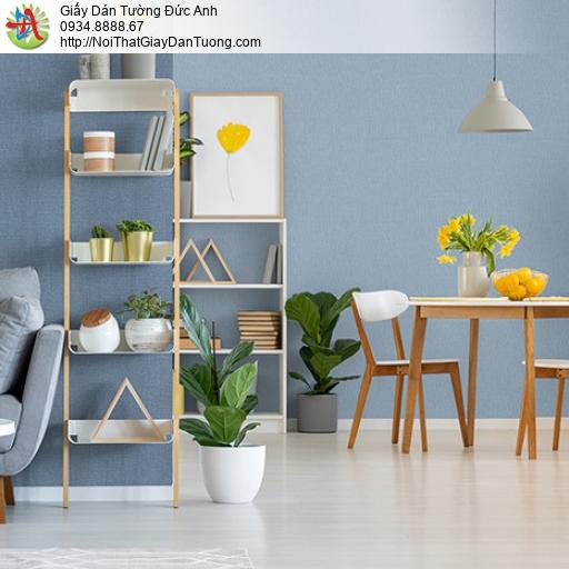 3814-6 Giấy dán tường kiểu vân trơn màu xanh, giấy xanh xám ở Quận 6