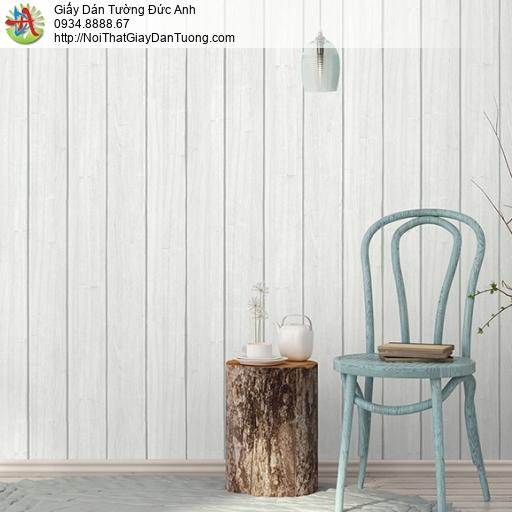 3818-1 Giấy dán tường giả gỗ màu trắng, gỗ dang thanh nhỏ thẳng đứng