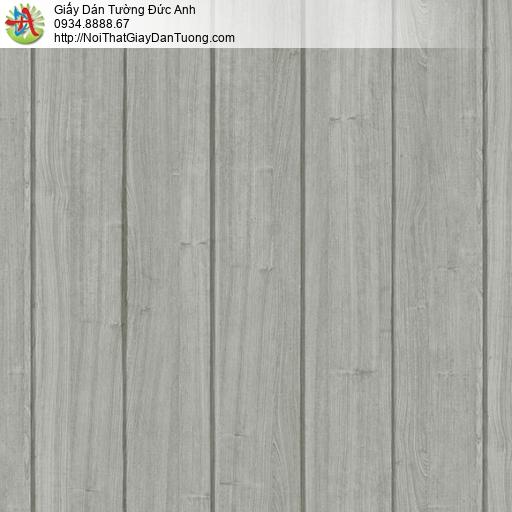 3818-2 Giấy dán tường giả gỗ mà xám, giấy giả gỗ 3D dạng thanh đứng