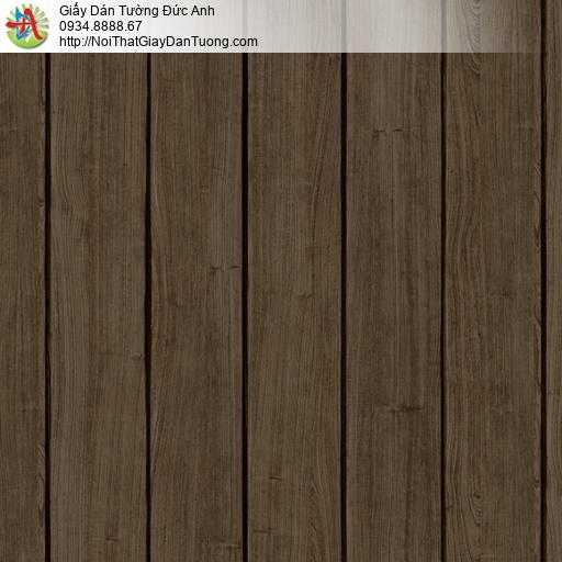 3818-4 Giấy dán tường giả gỗ màu nâu, gỗ 3D thanh đứng màu nâu đậm