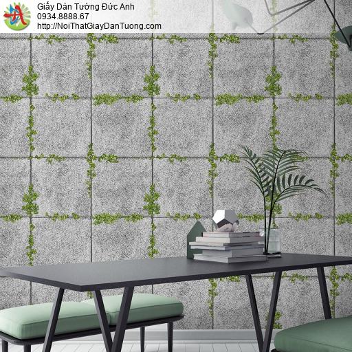 3819-1 Giấy dán tường cỏ mọc trên nền bê tông, đá miếng 3D rãnh mọc cỏ