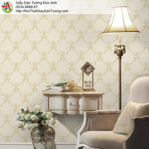 3820-2 Giấy dán tường hoa văn cổ điểm màu vàng nhạt, màu trứng gà mới