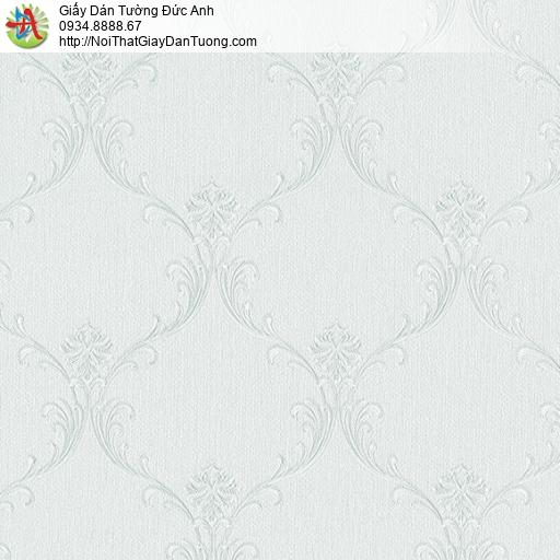 3820-3 Giấy dán tường hoa văn cổ điển màu xanh nhạt mới nhất 2020