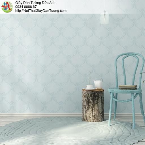 3820-4 Giấy dán tường hoa văn kiểu Châu Âu cổ điển màu xanh mới 2020