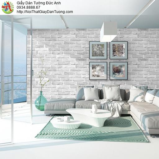3823-1 Giấy dán tường giả gạch 3D màu trắng, gạch thẻ 3D đẹp nhất 2020
