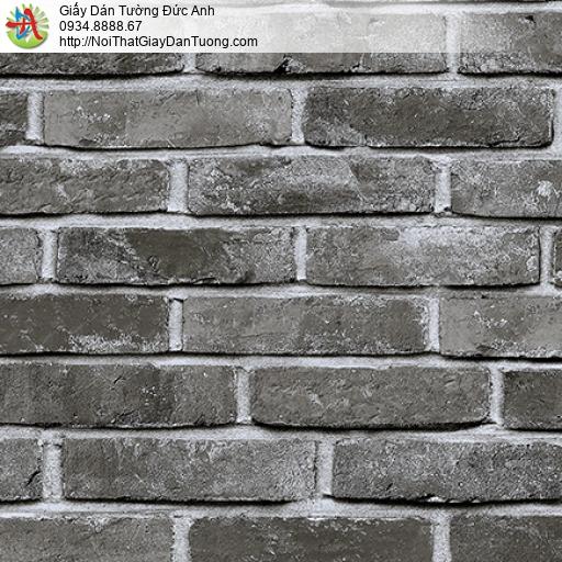 3823-2 Giấy dán tường giả gạch 3d màu đen, gạch thẻ màu tối 3D mới đẹp
