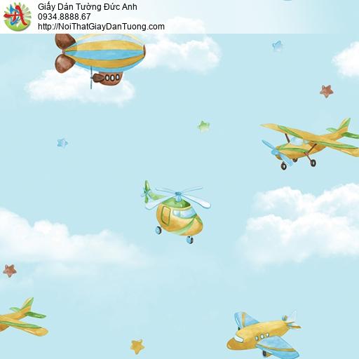 3825-1 Giấy dán tường máy bay trên bầu trời xanh, khinh khí cầu bay