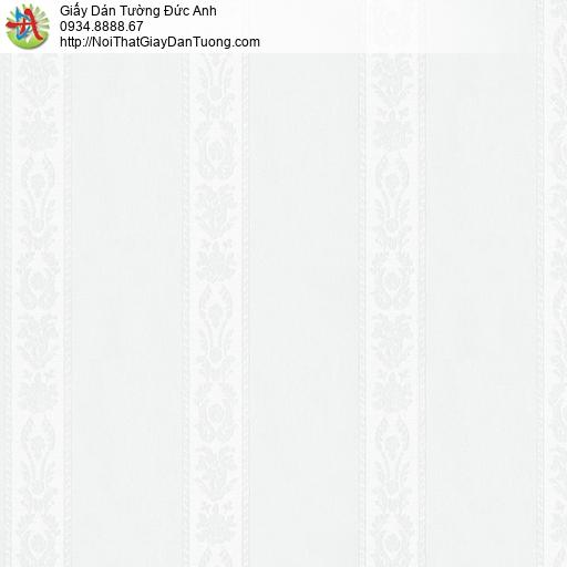 3830-1 Giấy dán tường kẻ sọc nhỏ màu trắng, giấy sọc bông trắng nhạt