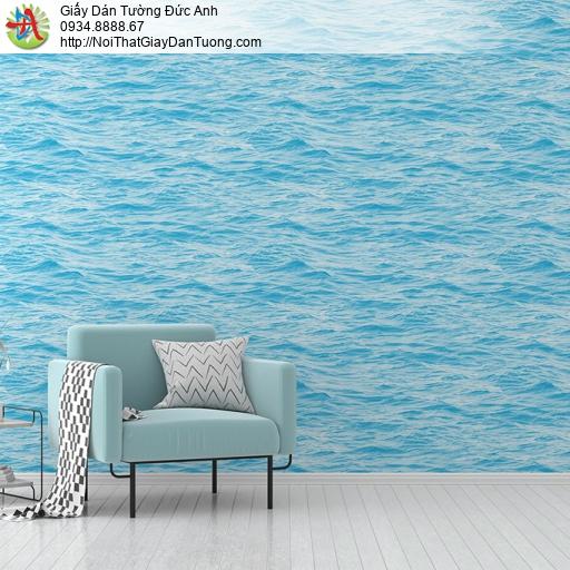 3832-1 Giấy dán tường sóng biển màu xanh nước biển, mặt nước sóng biển