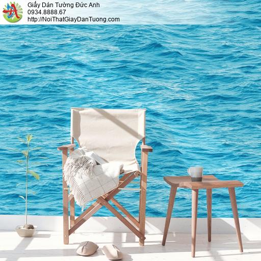 3832-2 Giấy dán tường sóng biển màu xanh, mặt biền nổi sóng xanh đậm