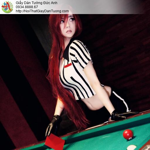 DA319 - Tranh dán tường bida, cô gái tóc đỏ sexy chơi bi da đẹp