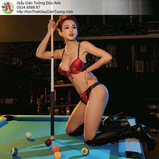 DA327 - Tranh dán tường cô gái sexy chơi bida, bán tranh tường Gò Vấp
