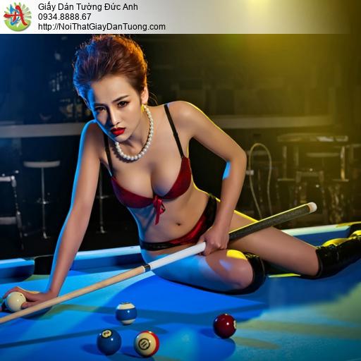 DA328 - Bán hình cô gái dán tường phòng bida, trang trí quán bi a HCM