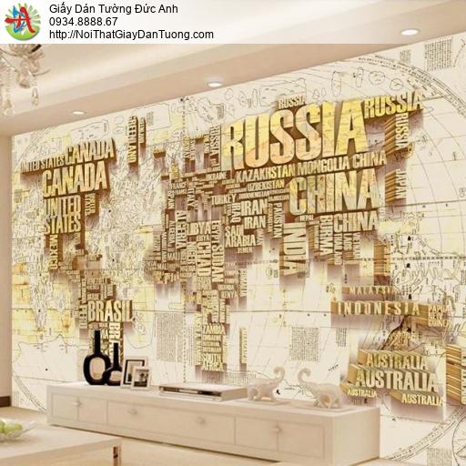 9544 - Tranh dán tường bản đồ 3D, bản đồ thế giới bằng chữ 3D đẹp