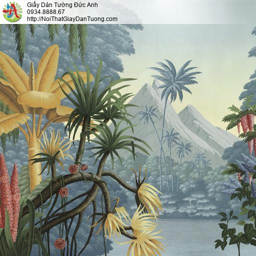 1413 - Tranh dán tường nhiệt đới, tranh vẽ cảnh rừng nhiệt đới sắc nét