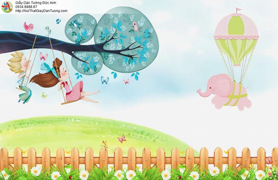 2165 - Tranh dán tường trẻ em, tranh cho phòng em bé đẹp, bé đu dây
