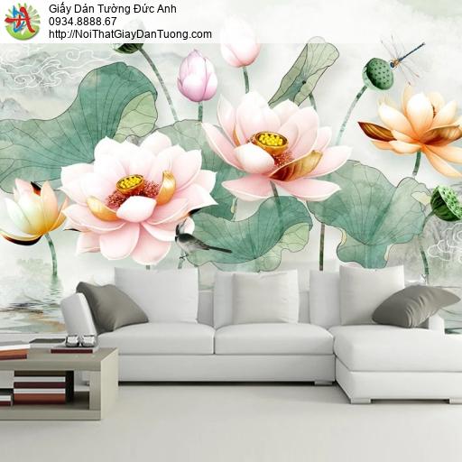 3312 - Tranh dán tường hoa sen 3D, hoa sen màu hồng 3D, hồ sen