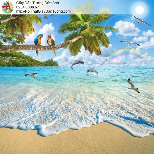 6050 - Tranh dán tường cảnh biển đẹp, mãi biển lãng mạng xanh biếc