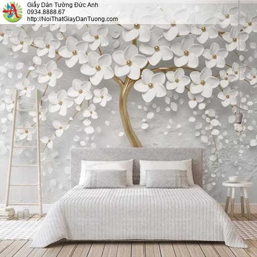 3313 - Tranh dán tường cây hoa trắng thân vàng 3D, cây hoa 3D đẹp