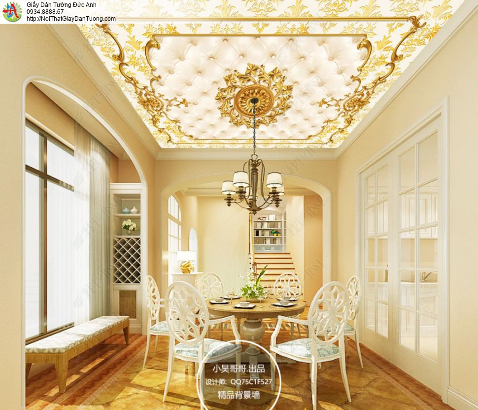 D513 - Tranh dán trần nhà, hoa văn trần cổ điển, tranh thời phục hưng