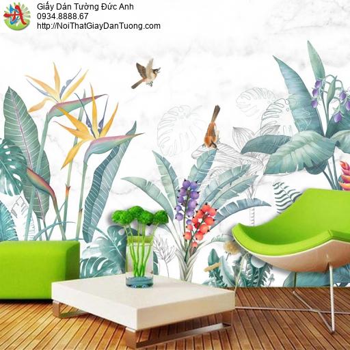 1414 - Tranh dán tường cây nhiệt đới - hình vẽ rừng nhiệt đới đẹp