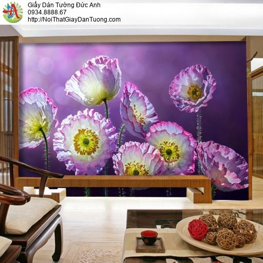 3316 - Tranh dán tường hoa màu tím, tranh tường hoa tím lớn lãng mạn