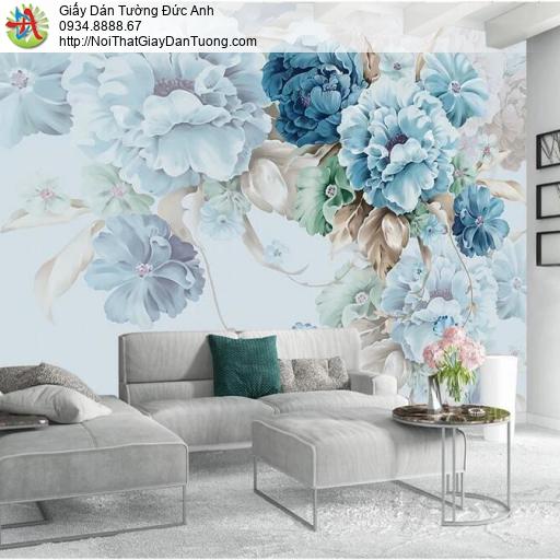 3317 - Tranh dán tường những bông hoa lớn cho phòng ngủ màu xanh, hồng