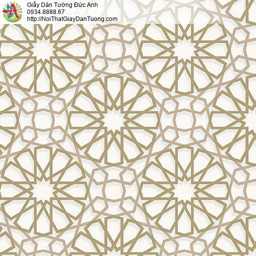 27032 - Giấy dán tường họa tiết đường lưới tạo hình tròn bánh xe vàng
