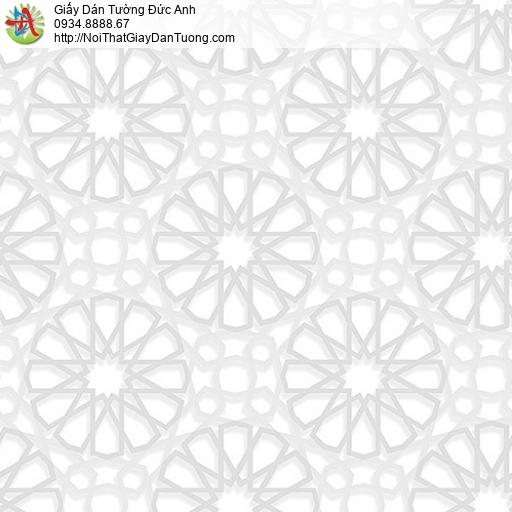 27037 - Giấy dán tường 3D màu trắng sáng dạng đường kẻ tạo hình tròn