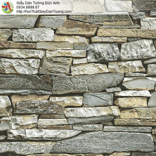27052 - Giấy dán tường giả đá 3D màu vàng, màu xanh đá xếp chồng