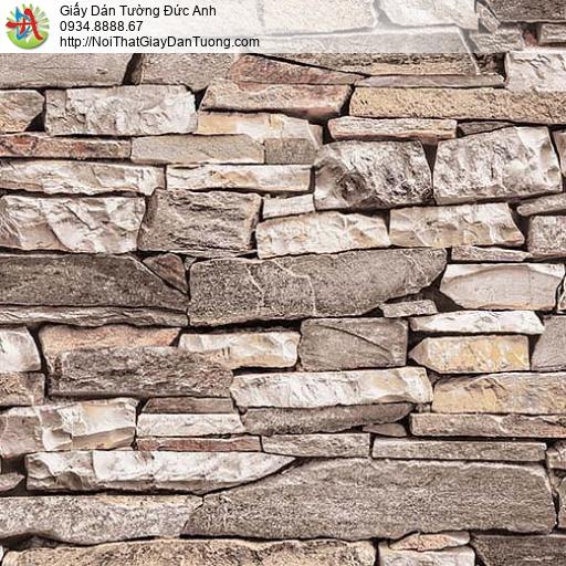 27054 - Giấy dán tường giả đá 3D màu nâu, màu cam nhạt, màu xám đẹp