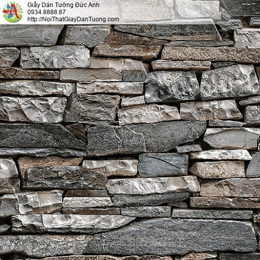27055 - Giấy dán tường giả đá 3D màu xanh, màu xám, bức tường đá đẹp