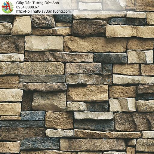 27111 - Giấy dán tường giả đá 3D màu nâu, bức tường đá màu vàng đậm