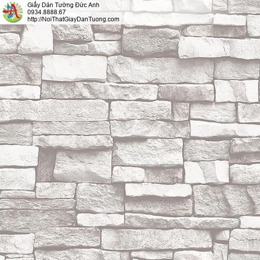 27112 - Giấy dán tường giả đá 3D màu trắng xám, bức tường đá trắng
