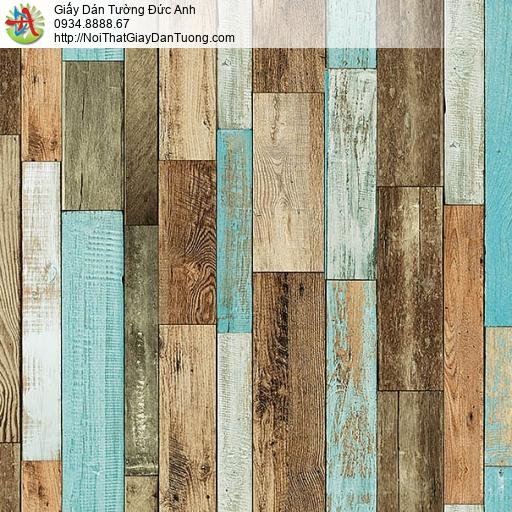 27121 - Giấy dán tường giả gỗ màu nhiều màu xếp đứng, bức tường giả gỗ