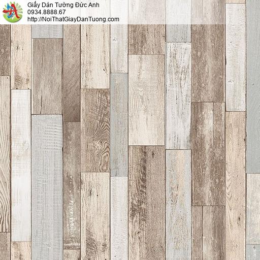 27123 - Giấy dán tường giả gỗ màu nâu nhạt, các thanh gỗ mỏng xếp đứng