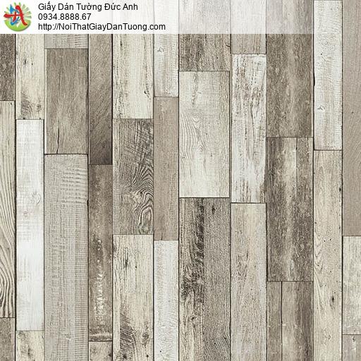 27126 - Giấy dán tường giả gỗ màu xám trắng, các thanh gỗ xếp đứng