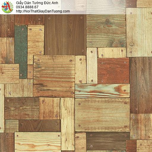 27131 - Giấy dán tường vách gỗ màu vàng, nhiều miếng gỗ nhỏ ghép lại