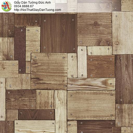 27132 - Giấy dán tường giả gỗ màu nâu, vách tường gỗ nhiều miếng nhỏ