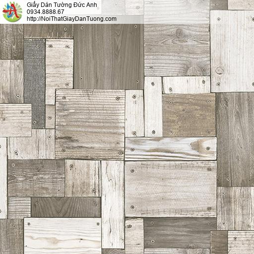 27133 - Giấy dán tường vách tường giả gỗ màu xám, nhiều miếng gỗ nhỏ