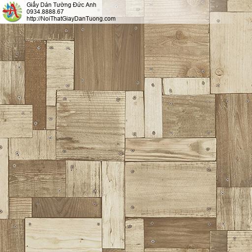 27134 - Giấy dán tường giả gỗ màu vàng sẫm, màu nâu nhạt, miếng gỗ nhỏ