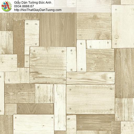 27135 - Giấy dán tường giả gỗ màu vàng nhạt, nhiều miếng gỗ nhỏ ghép