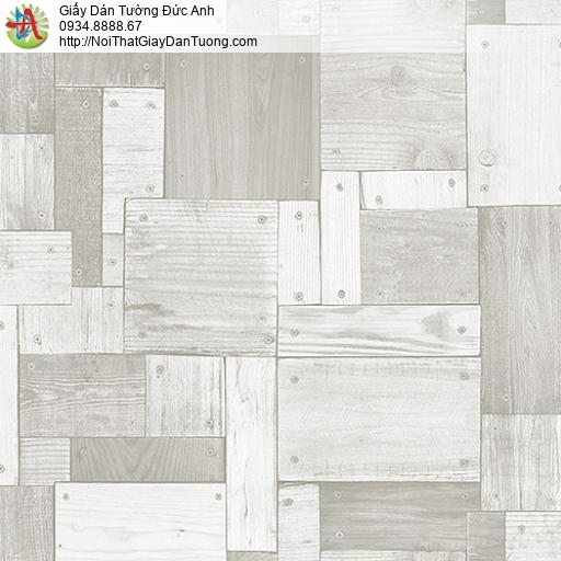 27136- Giấy dán tường giả gỗ màu xám, vách gỗ xám trắng ghép miếng nhỏ
